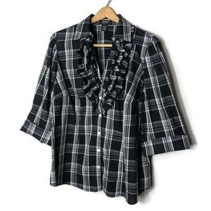 Black and White Plaid Ruffle Front Button Down